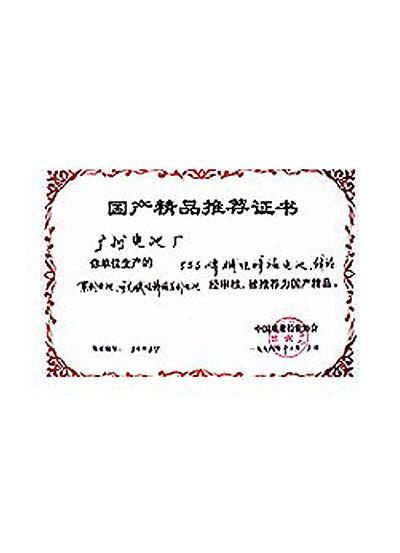 1994年555碱性电池获得国产精品推荐书