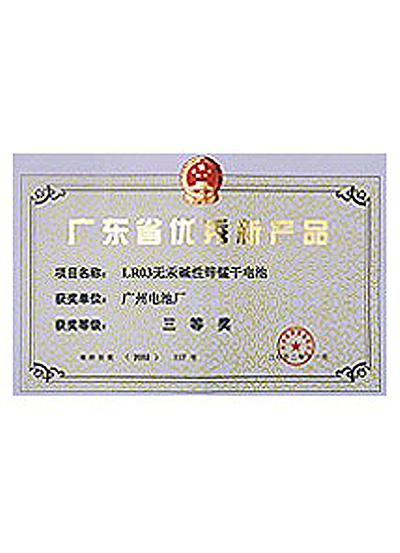 2002年LR03电池获省优秀新产品证书