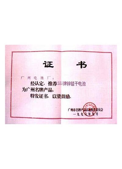 555锌锰电池获广州市名牌产品